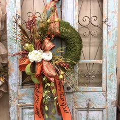 Your place to buy and sell all things handmade Moss Wreath, Diy Wreath, Grapevine Wreath, Door Wreaths, Summer Wreath, Wreath Fall, Elegant Fall Wreaths, Halloween Door Decorations, Fall Decorations