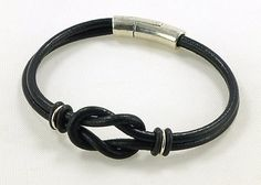 Unisex Celtic infinity knot black leather bracelet made with 3mm black genuine leather cord and quality Sterling silver plated metal cast Zamak -  -make with different colored leather for a softer feminine look