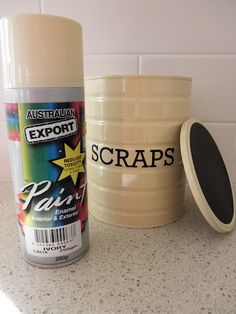 baby formula tin + paint + vinyl =