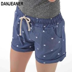 aad090daf6 DANJEANER 2018 summer women s home casual elastic waist cotton shorts  printed cat pumping self-cultivation