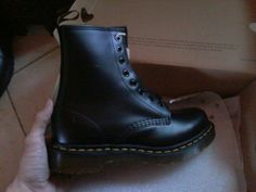 Finally ♡ Hand: my boyfriend. Boot: Dr Martens. Black smooth leather. Size: 5 UK / 7 US.