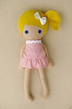 Fabric Doll Rag Doll Blond Haired Girl in Removable Pink Polka Dotted Dress and Bloomers
