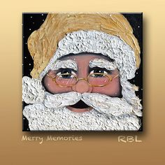 "Textured Santa painting on a 24""x24"" canvas."