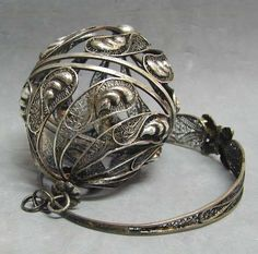 WISH I COULD HAVE ONE   Early Silver Sewing Tool Filigree Wool Ball Box with Bracelet from antiquemasterpieces on Ruby Lane