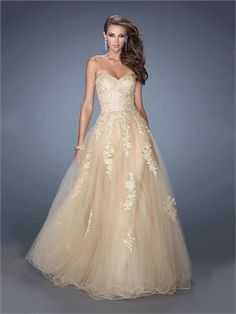 Sweetheart Gold Lace Tulle Ball Gown Prom Dress PD2479 https://www.simpledresses.co.uk 129.0000