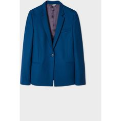PS Paul Smith Women's Dark Petrol Wool Blazer (7 430 UAH) ❤ liked on Polyvore featuring outerwear, jackets, blazers, petrol, blue wool blazer, light weight jacket, lightweight jackets, one button jacket and slim fit blazer