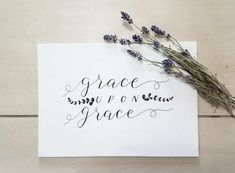 #calligraphy #graceupongrace #candohandmade #farmhouse #lavender Modern Calligraphy Tutorial, Modern Calligraphy Alphabet, Calligraphy Practice, Cool Lettering, Hand Lettering, Handwritten Typography, Type Posters, Handwriting, Lavender