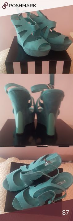 Turquoise Charlotte Russe wedges Used in fair condition Charlotte Russe Shoes Wedges