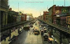New York City NY 1905 Bowery North from Grand Street Antique Vintage Postcard