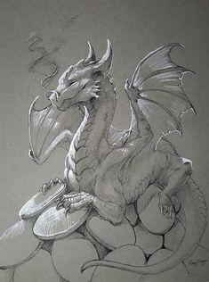 Inktober - Expensive Hoarder by rajewel on DeviantArt Cool Dragon Drawings, Dragon Sketch, Dragon Artwork, Mythical Creatures Art, Mythological Creatures, Fantasy Creatures, Animal Sketches, Animal Drawings, Art Sketches