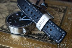 Xetum men's watch: Stinson, black dial, brown leather, signed clasp