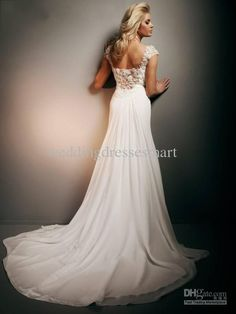 open back wedding dresses 2013 | - 2013 Custom White Chiffon Open Back Lace Chiffon Wedding Dresses ...