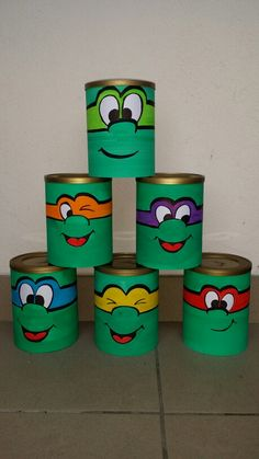 upset any ninja turtle - chamboule tout tortue ninja upset any ninja turtle Tin Can Crafts, Easy Crafts, Diy And Crafts, Crafts For Kids, Arts And Crafts, Recycled Toys, Recycled Crafts, Formula Can Crafts, Tin Can Art