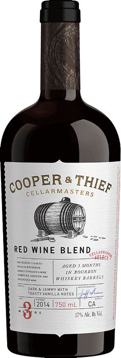 Cooper & Thief Red Wine Blend. Wine stashed in Bourbon Barrels. Dark and jammy with toasty vanilla notes.