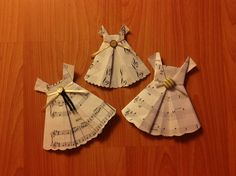 Origami dress design with music sheets and vintage buttons.  #origami #origamidress #design #music