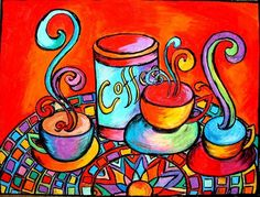 Oil pastel Artwork painted & signed by Chris Jeanguenat. Pastel Artwork, Oil Pastel Art, Oil Pastel Drawings, Oil Pastels, Coffee Crafts, Coffee Art, Hot Coffee, Coffee Cups, Coffee Cup Pictures