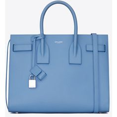 Saint Laurent Classic Small Sac De Jour Bag ($2,130) ❤ liked on Polyvore featuring bags, handbags, blue handbags, leather purse, leather bags, genuine leather handbags and blue leather purse