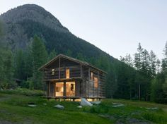Contemporary barn conversion by Savioz Fabrizzi Architectes in Praz-de-Fort, Switzerland - CAANdesign Contemporary Barn, Contemporary Architecture, Nature Architecture, Chalet Style, Exposed Concrete, Small Buildings, Metal Buildings, Log Cabin Homes, Mountain Homes