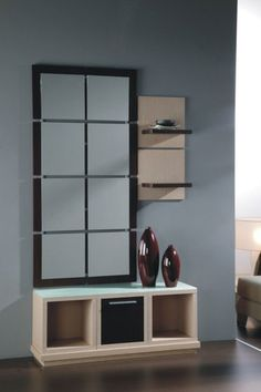 meuble d 39 entr e contemporain avec miroir degas coloris noyer meubles d 39 entr e design ou. Black Bedroom Furniture Sets. Home Design Ideas