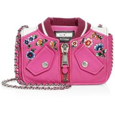 Moschino Embroidered Leather Jacket Shoulder Bag (€1.495) ❤ liked on Polyvore featuring bags, handbags, shoulder bags, apparel & accessories, moschino shoulder bag, woven leather purse, pink leather purse, chain shoulder bag and shoulder handbags