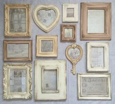French Style Cream Shades Aged Photo Frames Vintage Pictures