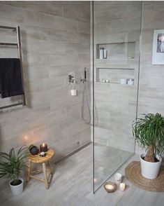 Most Popular Small Bathroom Remodel Ideas on a Budget in 2018 This beautiful look was created with cool colors, and a change of layout. Wood Bathroom, Laundry In Bathroom, Basement Bathroom, Master Bathroom, Beige Bathroom, Tranquil Bathroom, Master Shower, Modern Bathroom, Bad Inspiration