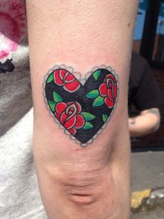 Heart & roses. Done by Andrew Woodbury at Visible Ink Malden MA - Imgur