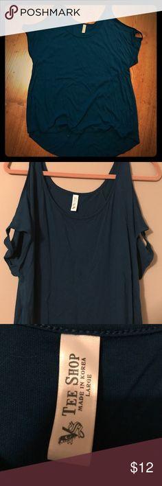 Victoria's Secret Top Dark blue/green cold shoulder style shirt (shoulders exposed.) higher hem in front than in back. Victoria's Secret Tops Tees - Short Sleeve