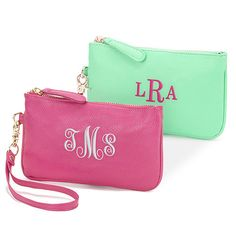 Leatherette Wristlet with Embroidered Monogram #personalizedwristlets