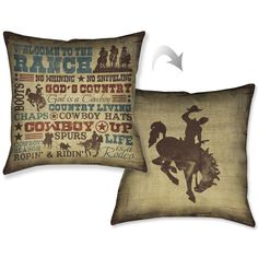 "Laural Home Rodeo Words Decorative 18-inch Pillow (18"" x 18""), Blue, Size 18 x 18 (Polyester, Quotes & Sayings)"