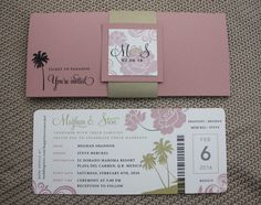 Dusty Rose Pink & Gold Leaf Flowers, Swirls & Palm Trees Airline Ticket Wedding Invitations with Belly Band Wraps
