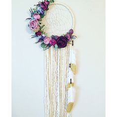 Floral Dream catcher, Boho Chic Dreamcatcher, Floral Wall Hanging,... (130 CAD) ❤ liked on Polyvore featuring home, home decor, floral home decor and dream catcher home decor