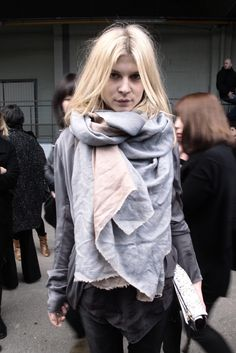 Fall fashion: Clemence Poesy with an over sized scarf. Via French Voguettes