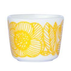 Kurjenpolvi egg cup 2pcs., White/Yellow - Sami Ruotsalainen - Marimekko - RoyalDesign.co.uk
