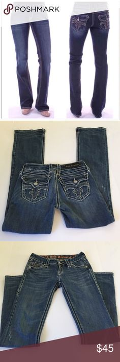 Rock Revival Debbie Bootcut Jeans, size 27 Rock Revival Debbie Bootcut Jeans in size 27. Flat lay measure of the waist is 15. Rise is 7.5, inseam is 32 and leg opening is 8.5. Made from 98% cotton and 2% elastan. Features factory fading, whiskering and slight distress. In excellent condition, please ask if you have any questions. Rock Revival Jeans Boot Cut