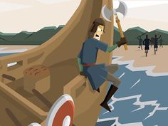 A Viking raider leaping over the side of a longship Modern History, European History, Ancient History, American History, Vikings Ks2, Viking Longship, Science Projects, School Projects, School Ideas