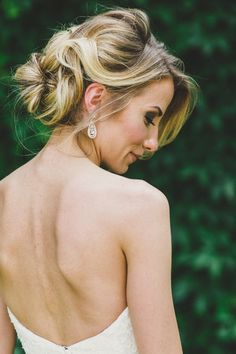 Elegant hairstyle for bride - loose updo {Sugar + Soul Photography}