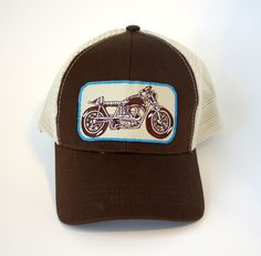 Motorcycle Trucker Hat Brown