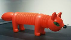 Blow-molded plastic and vinyl red fox accordion squeak toy, from an exhibition of the artist's works in Paris at the Musée des Arts Décoratifs, Czechoslovakia, 1963, by Libuše Niklová.