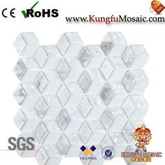 This Rhombus Stone Mosaic Glass Tiles in a special shape. There with white marble and glass as strip too. Stone Mosaic Tile, Marble Mosaic, Glass Mosaic Tiles