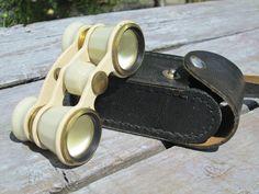 White theatre glasses Vintage Russian Opera Binoculars Soviet Opera Vintage binoculars 70s USSR small leather case antique Accessories