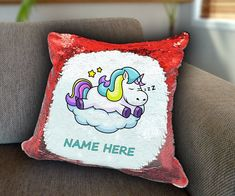 Sleeping Unicorn Personalized Sequin Cushion cover with your name unicorn sequin pillow personalised sequin cushion cover magic sequin cover by funkytshirtsfactory on Etsy Sequin Pillow, Unicorn Cushion, Cushion Covers, Soft Fabrics, Cushions, Sequins, Sleep, Sofa
