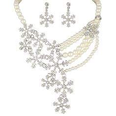 EVER FAITH Silver-Tone Bridal Snowflake Simulated Pearl Clear Austrian Crystal Necklace Earrings Set -- Continue to the product at the image link.