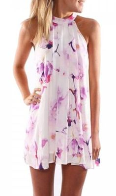 »Fresh Style Jewel Neck Sleeveless #Floral Print Women's #Dress« #fashion #fashionandaccessories #twinkledeals