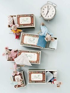 Tiny mice in pyjamas ready for their beds