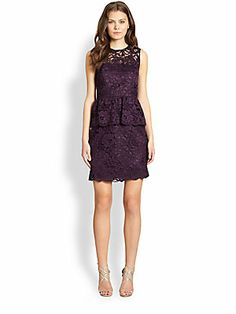 Shoshanna Lace Peplum Dress