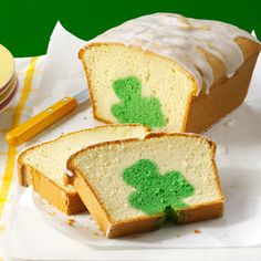 Shamrock Cutout Pound Cake Recipe from Taste of Home -- shared by Angela Lively of Spring, Texas