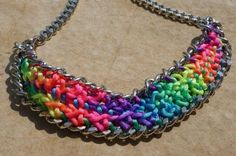 Neon multicolor braided chain necklace