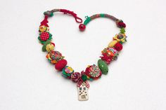 Mixed media colorful necklace, crochet fiber jewelry with fabric buttons, felt…