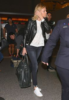 Celebrity Street Style - We Are Loving Charlize Theron's Off-Duty Leather Look